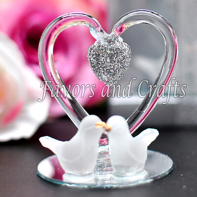 12 Glass Heart Doves Wedding Favors Boxes Anniversary Gift Recuerdos Boda - Wedding Anniversary Favors
