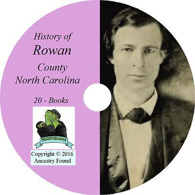 ROWAN County North Carolina NC - History Genealogy Salisbury  - 20 Books CD DVD