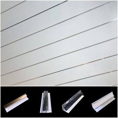Gloss White Chrome Strip Ceiling Cladding Bathroom Panels PVC Shower Wet Wall
