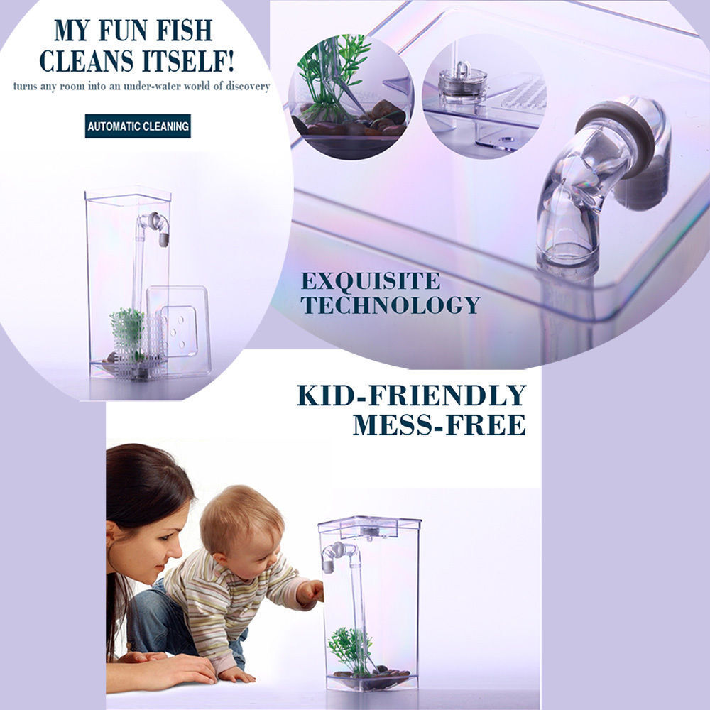 Self Cleaning Fun Fish Tank - Desktop Small Fish Aquarium w/ LED Light On TV 2