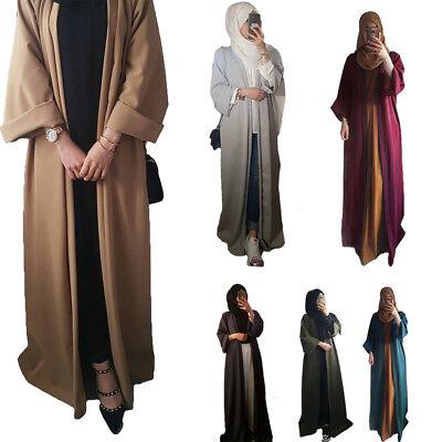 Women's Dubai Robe Abaya Muslim Kraftan Robe Open Kimono Cardigan Long Dress