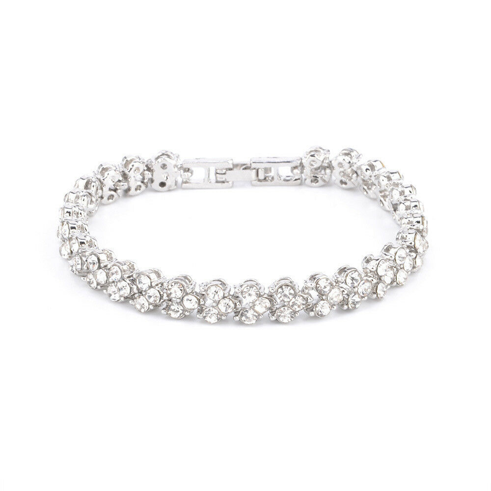 Jewellery - Ladies Silver Crystal Rhinestone Bangle Bracelet Wedding Bridal Jewelry Diamond