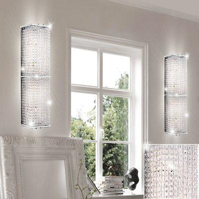 Kristall Wand Leuchte (2x Luxus Wand Leuchten Kristall Design Strahler Schlaf Zimmer Flur Chrom Lampen)