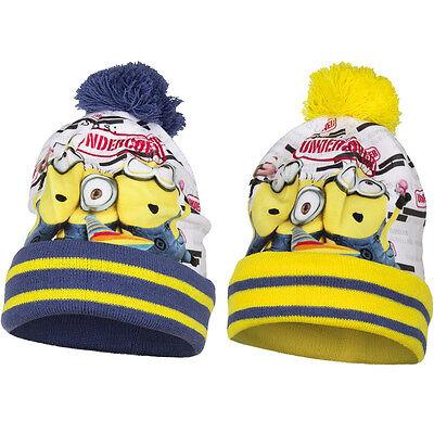 Minions Minion Mütze mit Bommel Wintermütze Despicable (Minion Mit Mütze)