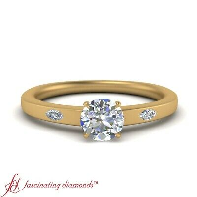 .75 Ctw Round Cut Diamond Marquise Accented Yellow Gold 3 Stone Engagement Ring