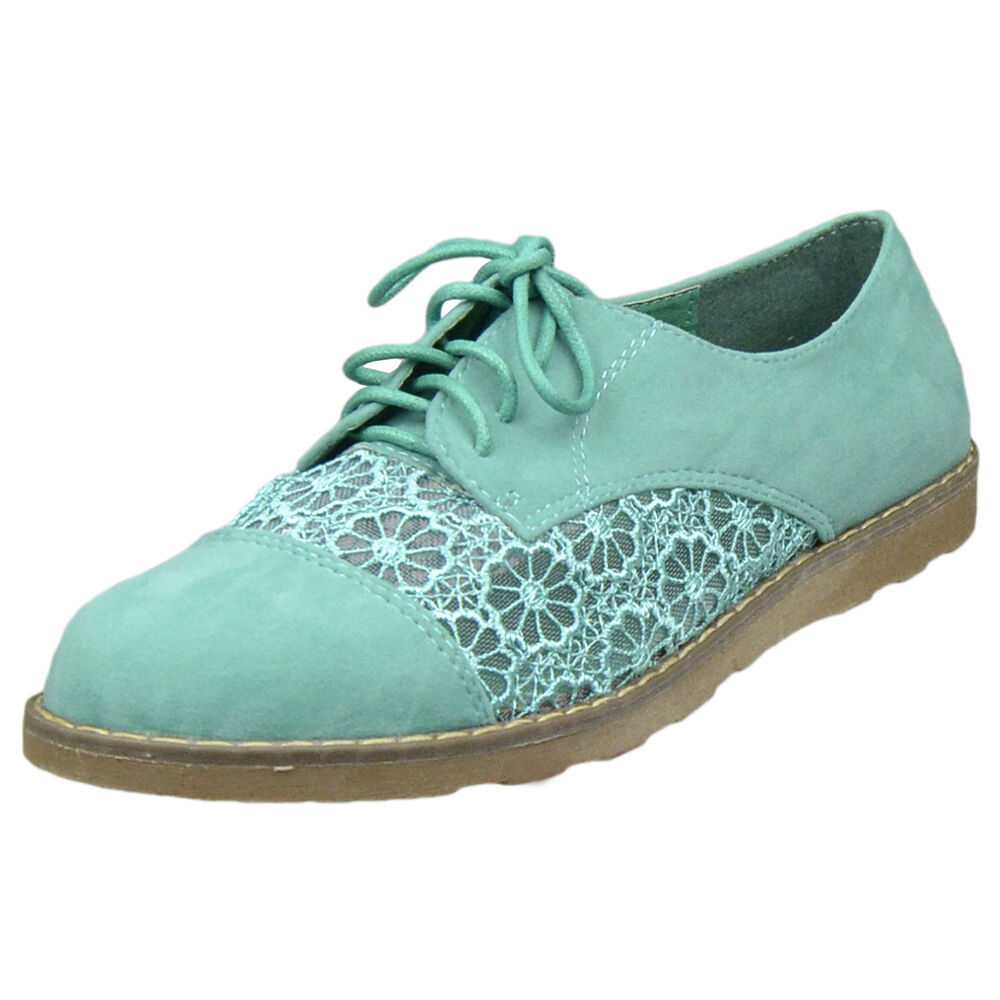 Womens High Top Lace Up Oxford Brogues w// Embroidered Flower Mint Sz 6-10