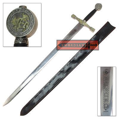 King Arthur Excalibur Replica Sword Steel Medieval Dragon Knight Longsword (Knight Sword)