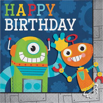 16 x Party Robots Happy Birthday Napkins 33cm Boys Tableware Supplies Childrens Robot Birthday Party Supplies