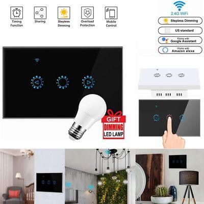 WiFi Wireless Smart Switch Dimmer Touch LED Light for iOS Android APP Control (Glasses App For Android)