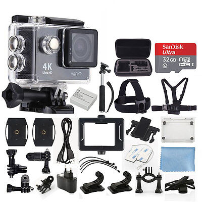 4K Ultra HD DV 12MP 1080p 60fps Sports Action Wi-Fi Camera + Value Accessory Kit