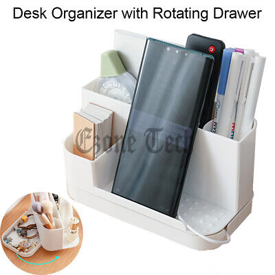 Desk Organizer Pen Holder W Rotating Drawer Office Makeup Storage Box Container