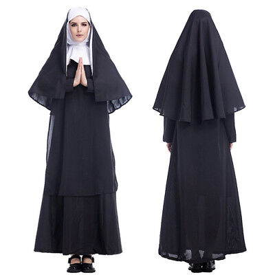 Nun Suit (The Horror Nun Costume Dreadful Women Adult Cosplay Robe Dress Suit  Halloween)