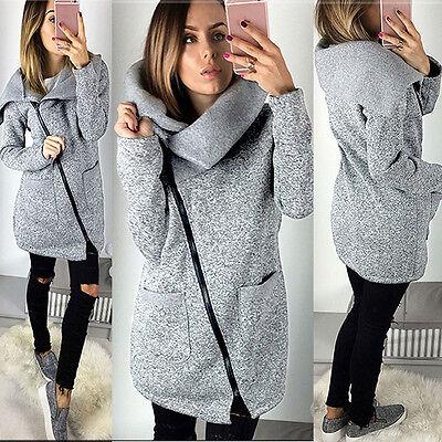 Womens Winter Warm Casual Hooded Jacket Coat Long Zipper Sweatshirt Outwear Tops