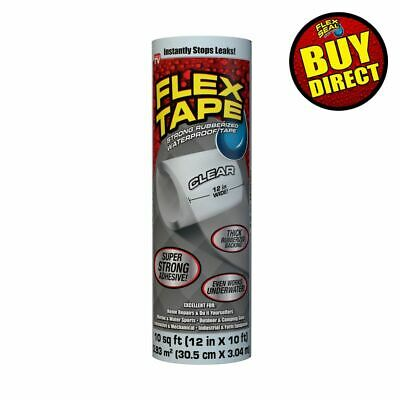 Flex Tape Clear 12 X 10 - Super Strong Rubberized Waterproof - Buy Direct