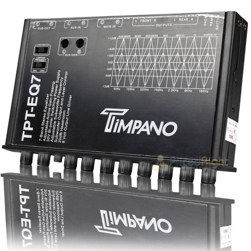 Timpano 7 Band Graphic Equalizer Subwoofer Level Control EQ 1/2 DIN TPT-EQ7