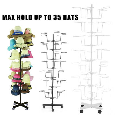 Rotating Hat Display Rack Free Standing Metal Floor Caps Headwear Stand 7 Tier