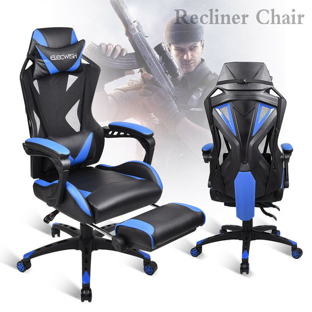 Ergonomic Mesh Back Office Gaming Chair Computer Desk Seat Footrest Racing Style