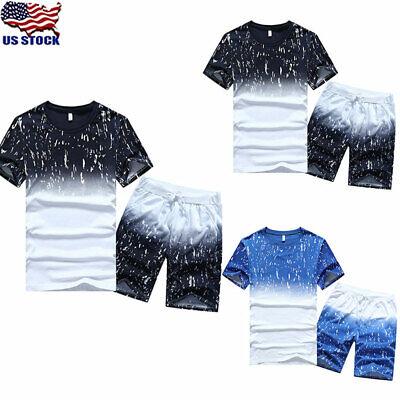 Tennis Suit - 2 PCS Mens Summer Tracksuit T Shirt Sports Suit Sets Pants Tennis Wear Shorts US