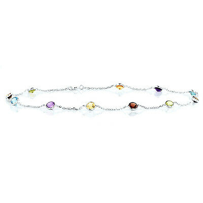 14K White Gold Station Ankle Bracelet With Round Shape Gemstones 9.5 Inches