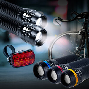 2x-CREE-Q5-LED-Mountain-Bike-Bicycle-Cyclings-Zoomable-Front-Lights-5-LED-Rear