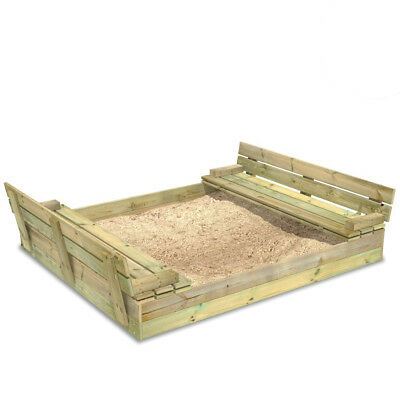 WICKEY Sandkasten Flippey 150x165cm mit Deckel Sandkiste Sitzbänke Sandbox