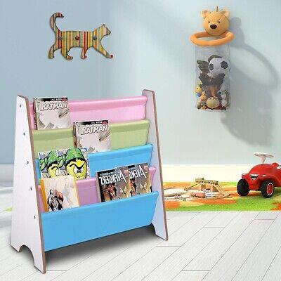 Kids Wooden Bookcase Rack Storage Book Shelf Tidy Childrens Bedroom Playroom
