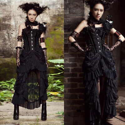 Women Vintage Medieval Steampunk Gothic Skirt Ladies Costume Dress Party Cosplay