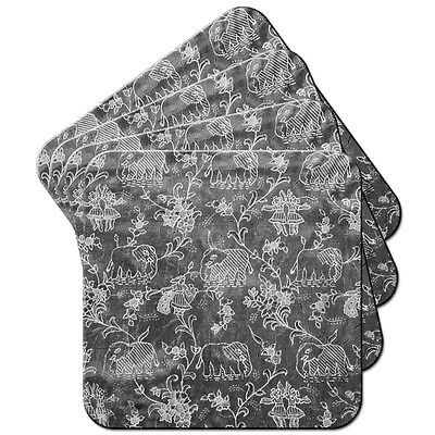 Indian Elephants - Grey Set of 4 Coasters