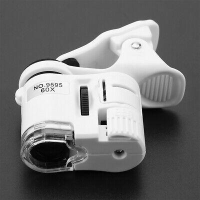9595w 60x Universal Mobile Phone Mini Clip Led Uv Lights Microscope Magnifier