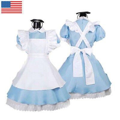 Ladies Alice in Wonderland Maid Costume Story Book Cosplay Lolita Fancy Dress - Costume Bible