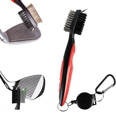 Golf Club Cleaning Brush Retractable Reels Iron Wedge Groove 2 Side Cleaner Red
