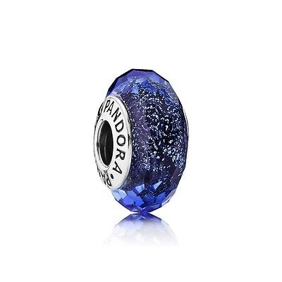 Pandora Murano Glass Charm Iridescent Blue Faceted Silver S925 ALE 791646 New,
