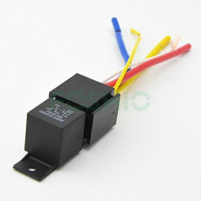 Universal 12v24v 80a 5 Pin Spdt Car Relays W Wires Harness Socket Heavy Duty