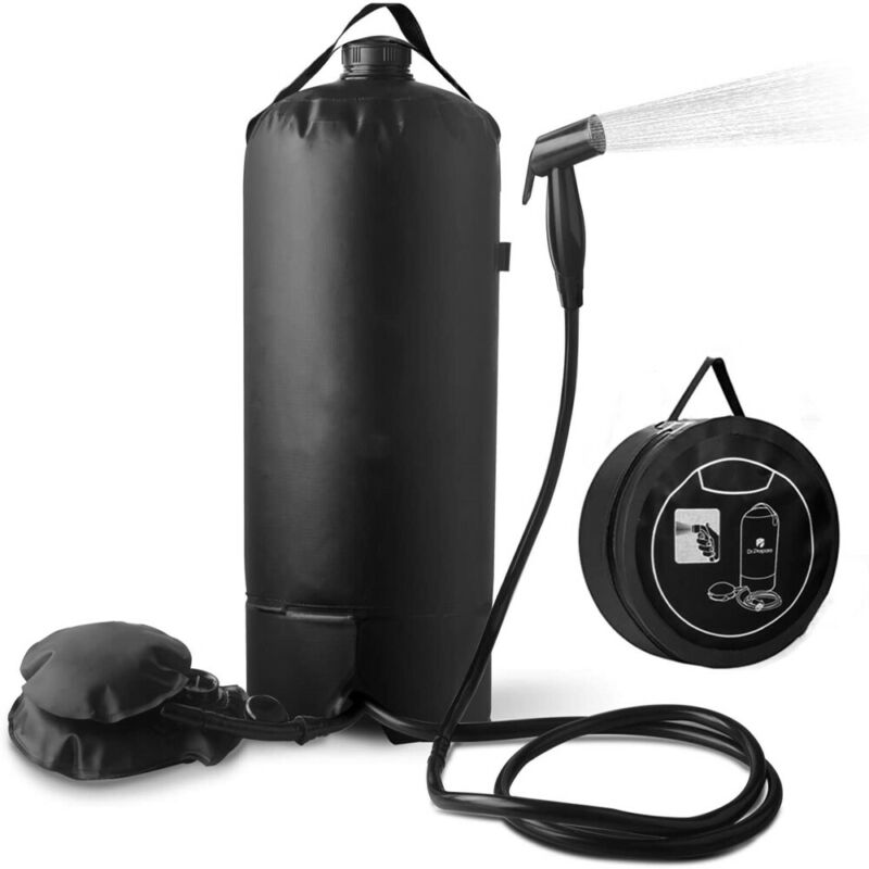 Upgraded Solar Camp Shower Bag with 6.6FT Hose Pressure Foot Pump Beach Camping