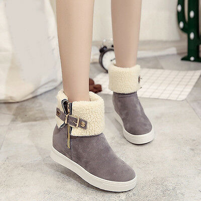Warm Women Snow Boots Platform Ankle Boots Winter Flock Slip On Flats Shoes