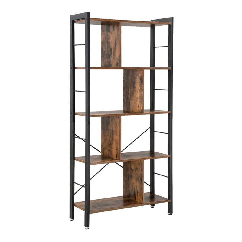 4 Tier Bookshelf Industrial Bookcase Display Shelf Storage Rack Rustic Brown US