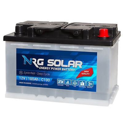 NRG SOLAR 100Ah 12V USV Wohnmobil Antrieb Versorgung Boot Schiff Solar Batterie Marine Batterie