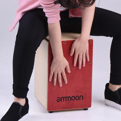 Ammoon Wooden Cajon Box Drum Birch Wood W/Adjustable Strings Carrying Bag C1X5