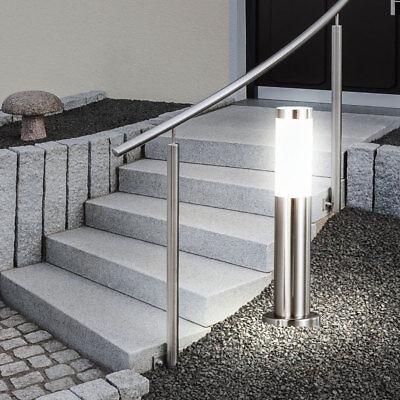 Luxus Stand Steh Haus Eingang Leuchte Edelstahl IP44 Sockel 1x E27 Terrasse Hof