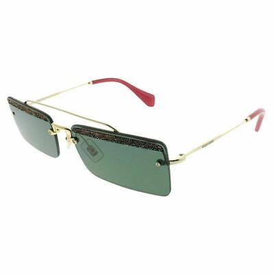 Miu Miu Rectangle Sunglasses MU59TS KI63O1 Pale Gold Frame W/ Green (Miu Miu Shades)