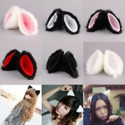 Fashion Halloween Cat Party Neko Costume Hair Clip animal Long Fur Ears (Neko Halloween Costumes)