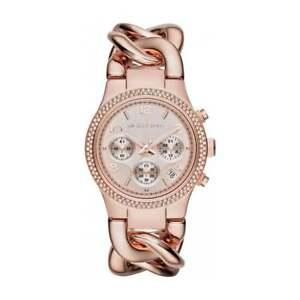Michael Kors Runway Twist Chain Rose Gold Crystal MK3247 Steel Ladies 38mm Watch