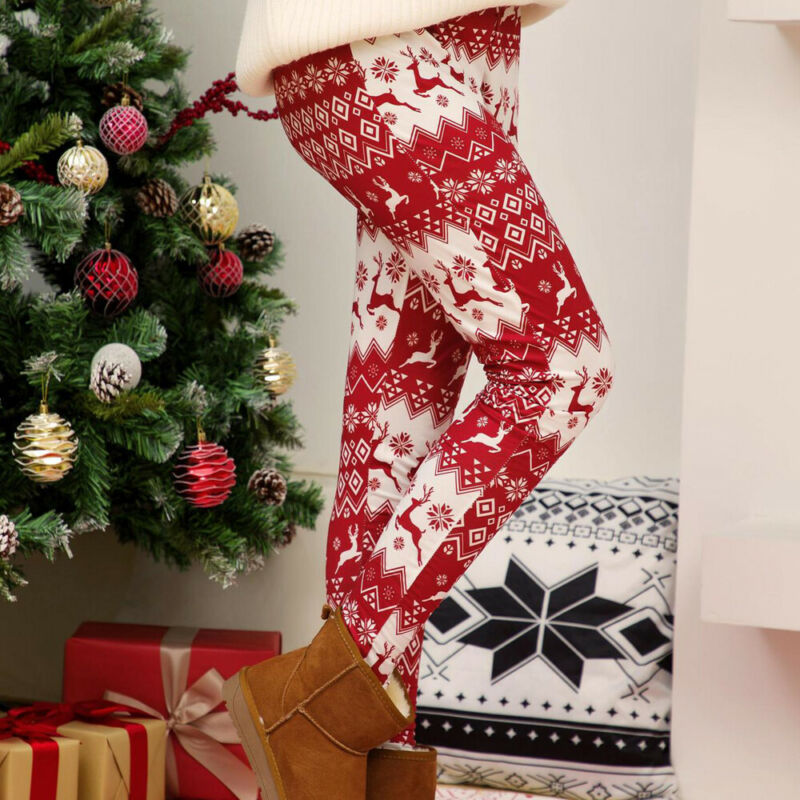 Womens Christmas Floral Printed Leggings Santa Stretch Long Pants Slim Trousers - $18.33