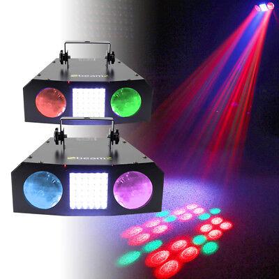 2x Beamz URANUS LED Double Moon and Strobe Disco Party DJ Lights