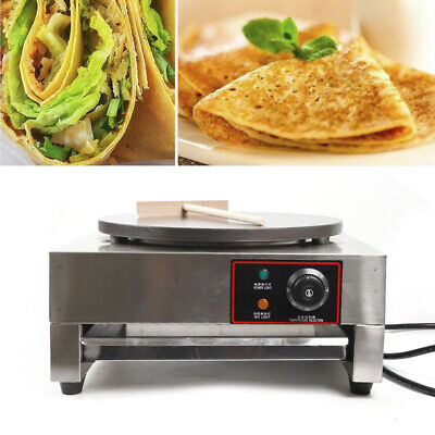 16 Pancake Pan Single Electric Griddle Machine Commercial Crepe Maker 2.8kw New