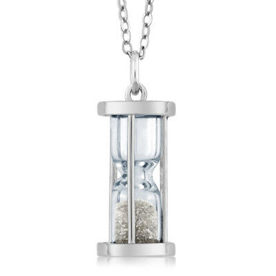 "925 Silver Hourglass Pendant with 0.50 Ct Diamond Dust & 18"" Chain"