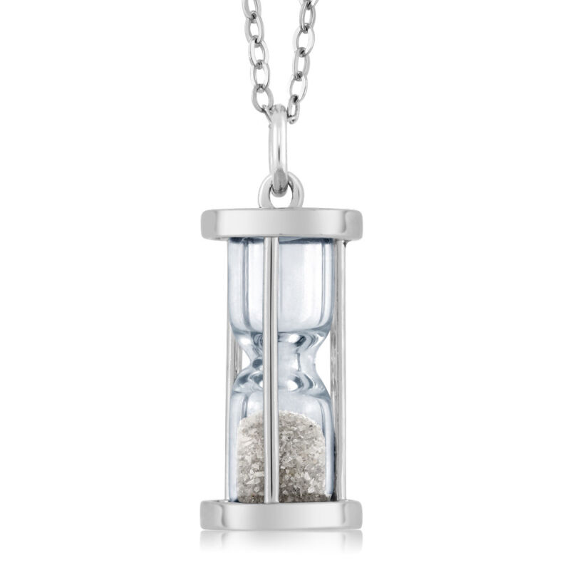 """925 Silver Hourglass Pendant with 0.50 Ct Diamond Dust & 18"""" Chain"""