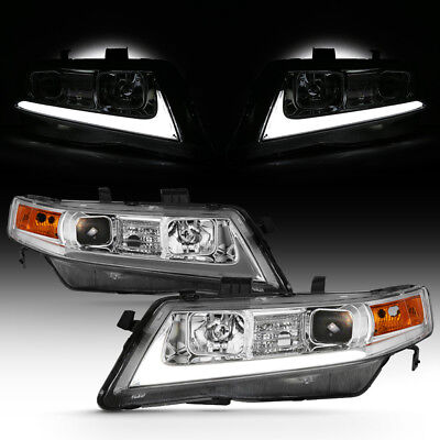 04-08 Acura TSX CL9 LED Light Bar Neon Tube Projector Head Lamp Pair Assembly