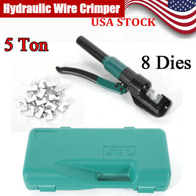 5 Ton Hydraulic Wire Battery Cable Lug Terminal Crimper Crimping Tool 8 Dies