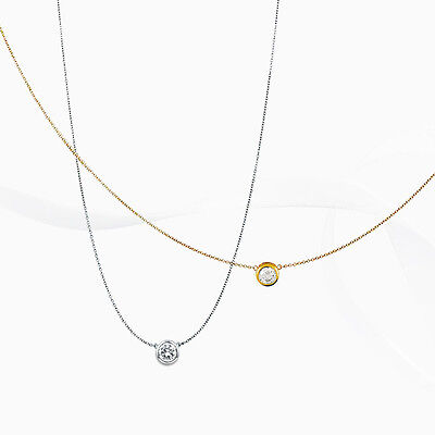 (Samie Collection Gold Plated 8mm Bezel CZ Solitaire Pendant Necklace 16